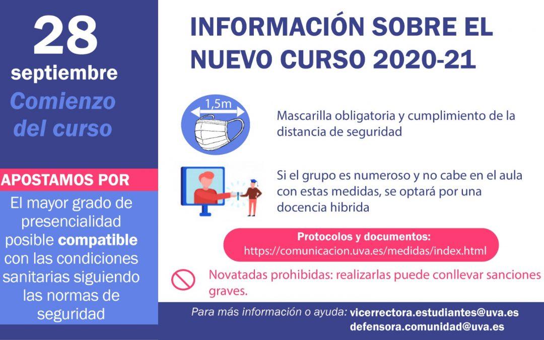 Información sobre el nuevo curso 2020-21